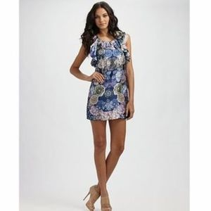 leifsdottir silk floral ruffle shoulder dress  6
